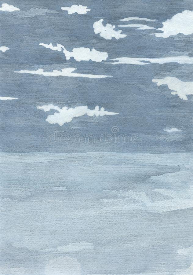 White clouds on blue sky, background abstract royalty free illustration