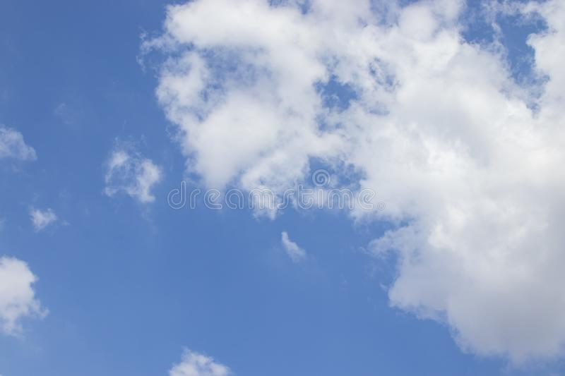 White clouds blue sky background, natural texture. White clouds, sky background, natural texture stock image