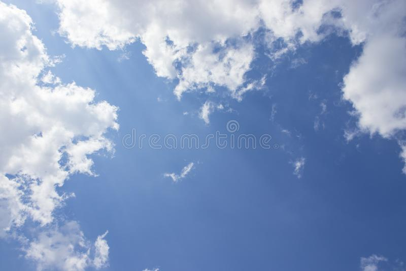 White clouds blue sky background, natural texture. White clouds, sky background, natural texture stock photo