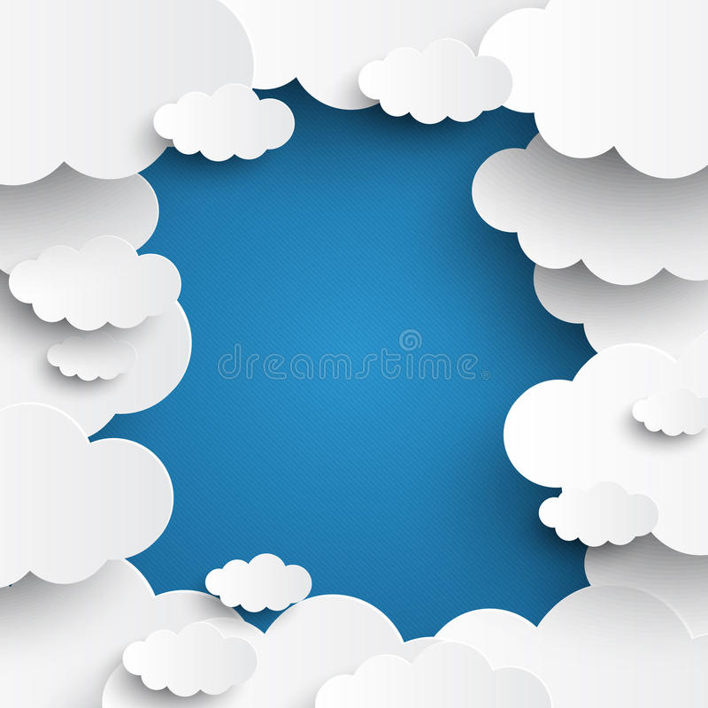 White vector clouds on blue sky background. Template vector illustration