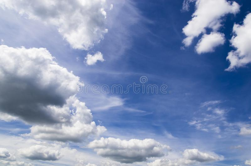 White clouds in the blue sky stock photos