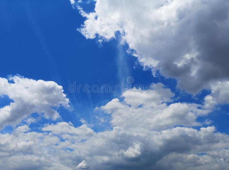 White clouds in the blue sky natural background beautiful nature space for write. Environment stock photo