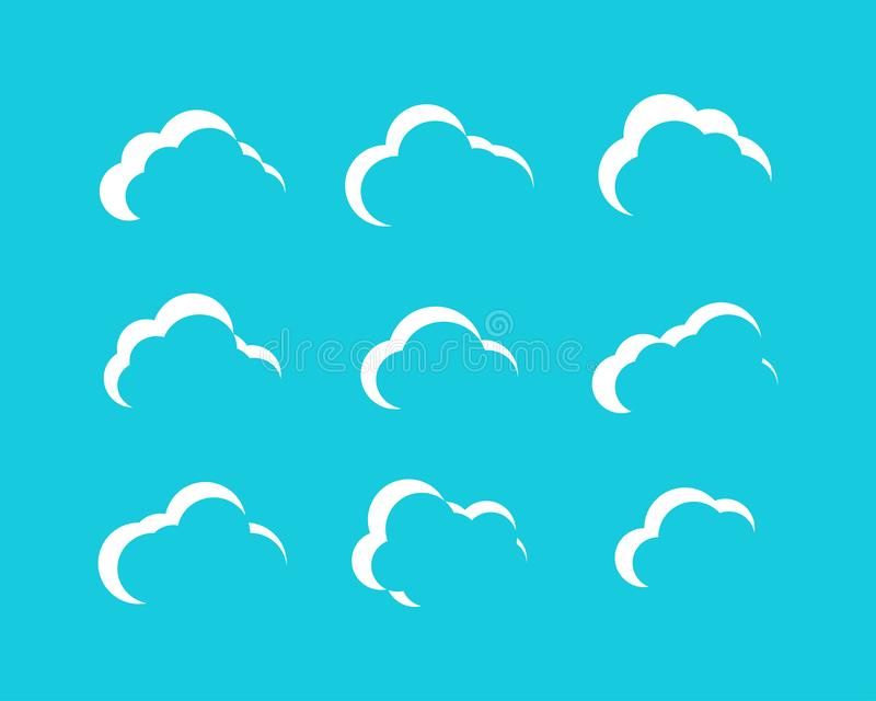 White Clouds collection in cartoon design. White Clouds icons. Clouds isolated royalty free illustration