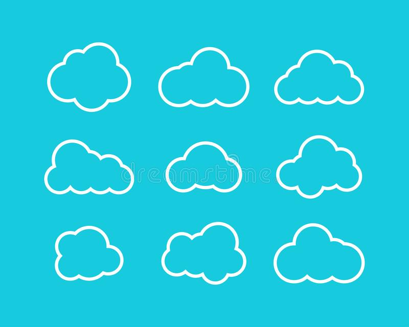 White Clouds collection in linear design. White Clouds icons. Clouds isolated royalty free illustration