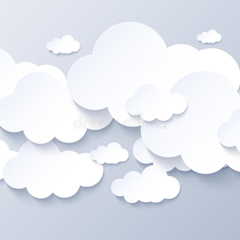 White clouds on gray sky background vector illustration