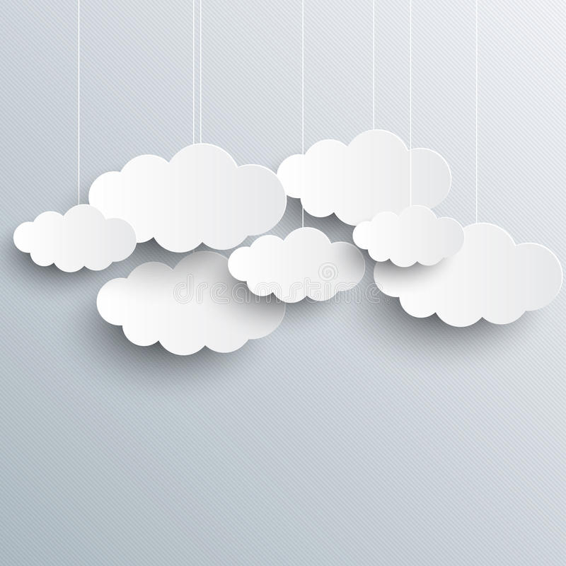 White vector clouds on gray sky background royalty free illustration