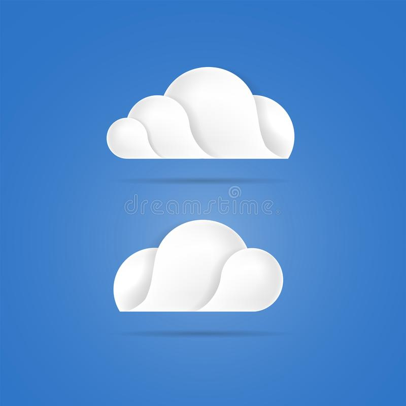 White clouds icons on blue background vector illustration. White clouds icons on blue sky background vector illustration stock illustration