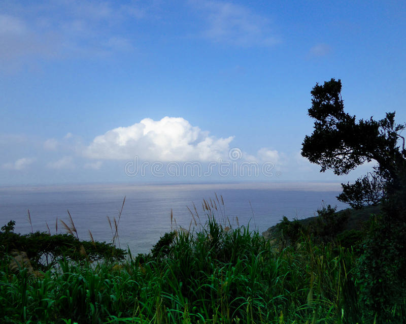 White clouds from Mount Putuo. Standing in Mount Putuo to see the blue sky and white clouds in zhoushan city zhejiang province China royalty free stock photography
