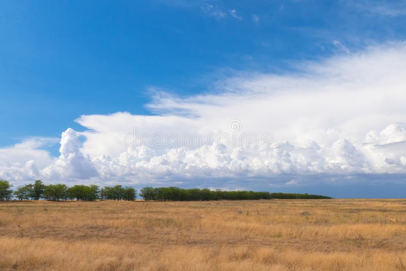 White clouds over agricultural fields royalty free stock image