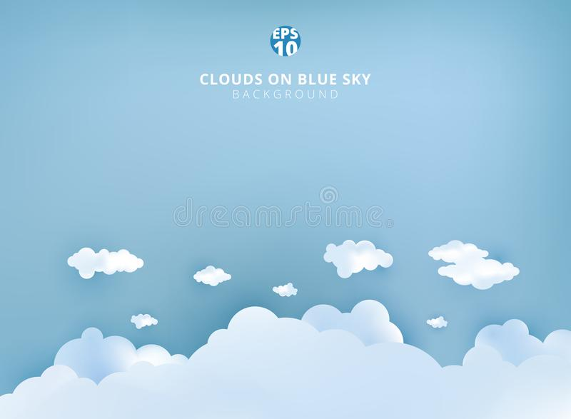 White clouds on pastel blue sky background design paper art and stock illustration