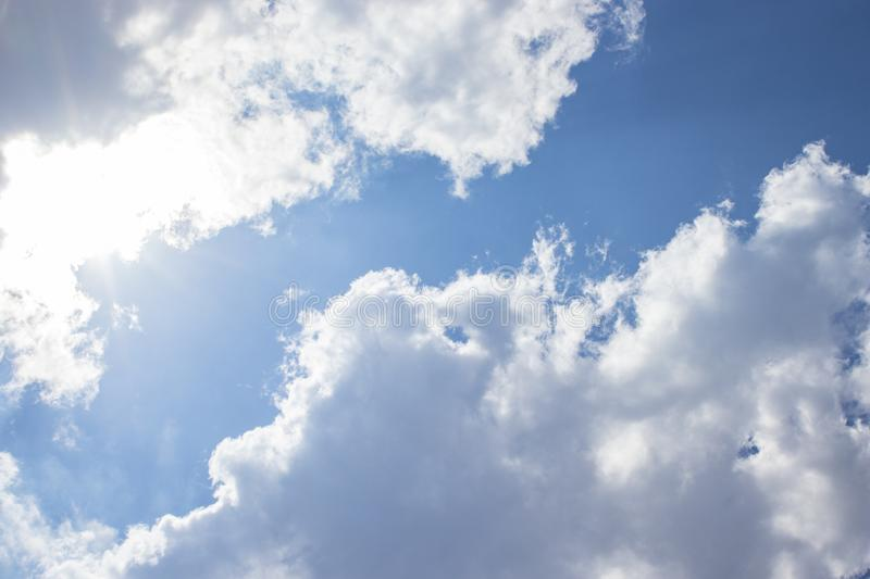 White clouds blue sky background, natural texture. White clouds, sky background, natural texture royalty free stock photos