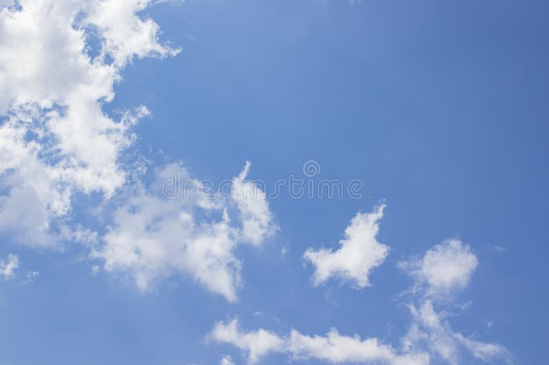 White clouds blue sky background, natural texture. White clouds, sky background, natural texture royalty free stock photography