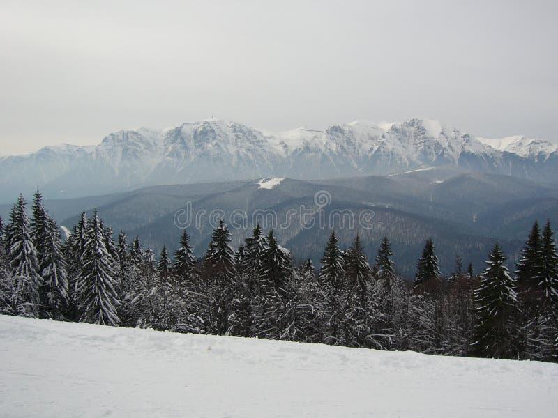 White coat of Caraiman mountains royalty free stock photography