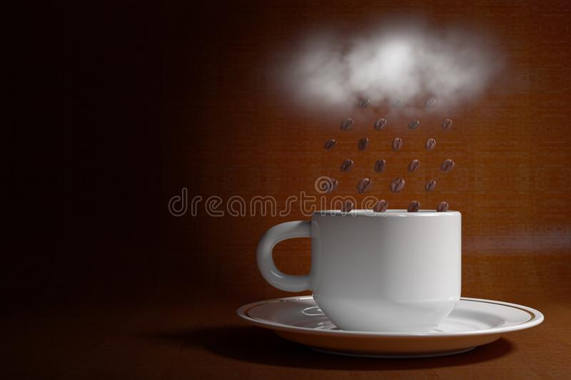 White Coffee Cup with Coffee Beans Rain from White Cloud. 3d Rendering vector illustration
