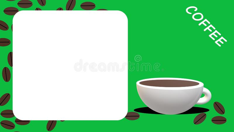 Coffee cup, beans with green background, card royalty free stock images