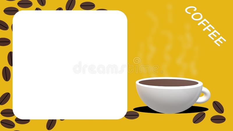 Coffee cup, beans with yellow background, card. White coffee cup, brown beans yellow-white background and `coffee` subtitle stock illustration