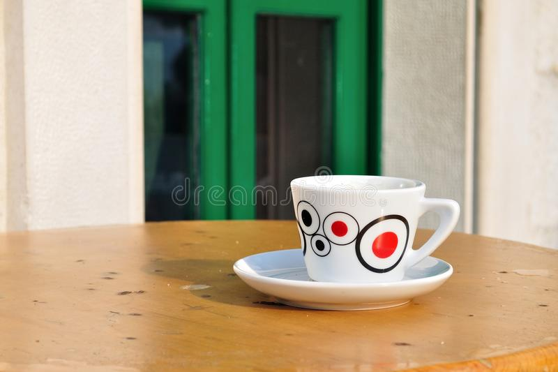 Download White Coffee Cup On A Brown Table Stock Photo - Image of porcelain, modern: 39512256