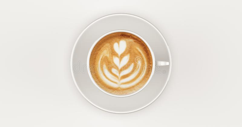 White Coffee Cup Cappuccino Top view with swirl. 3d illustration stock image