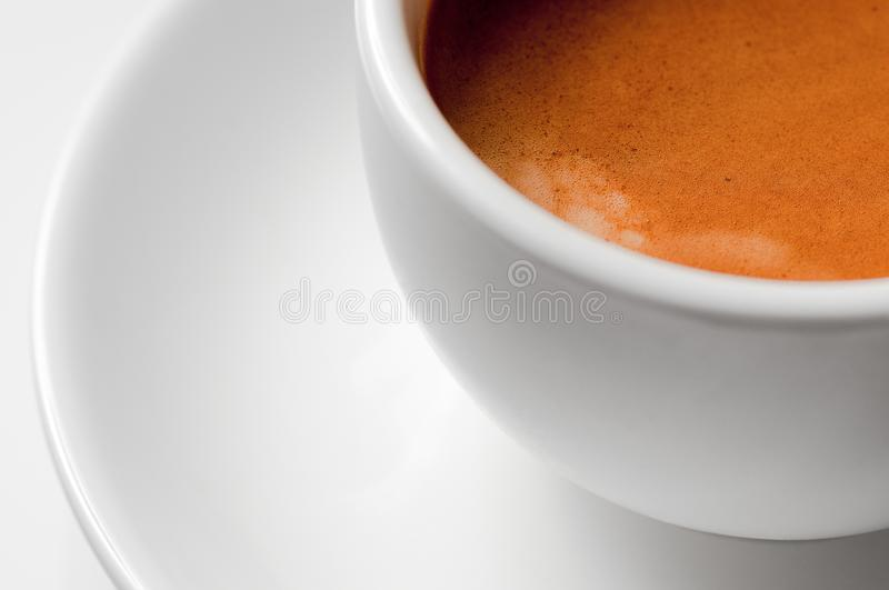 White coffee cup with espresso. Close-up, selective focus stock image