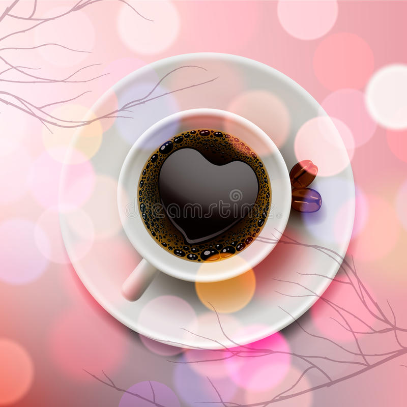 White coffee cup with heart shape made of froth on pink blur background royalty free stock photography