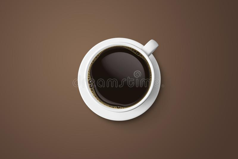 white coffee cup and hot espresso coffee isolate on brown background, top view with copy space vector illustration