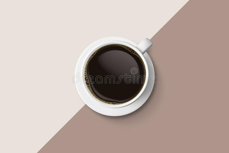 white coffee cup and hot espresso coffee isolate on two tone background, top view with copy space royalty free illustration