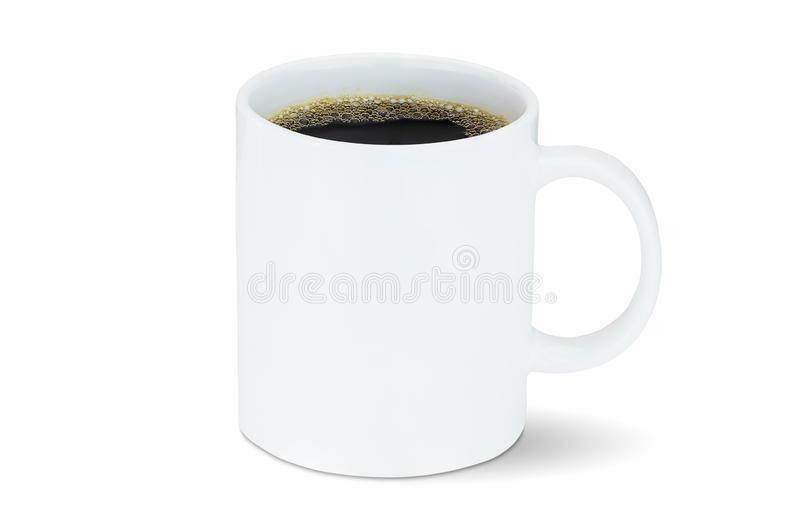 White coffee cup isolated on white background with clipping path. Side view royalty free stock image