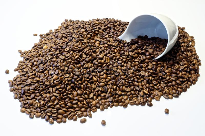 Coffee cup lying in the roasted coffee beans. White coffee cup is lying in the roasted coffee beans on white background royalty free stock photography