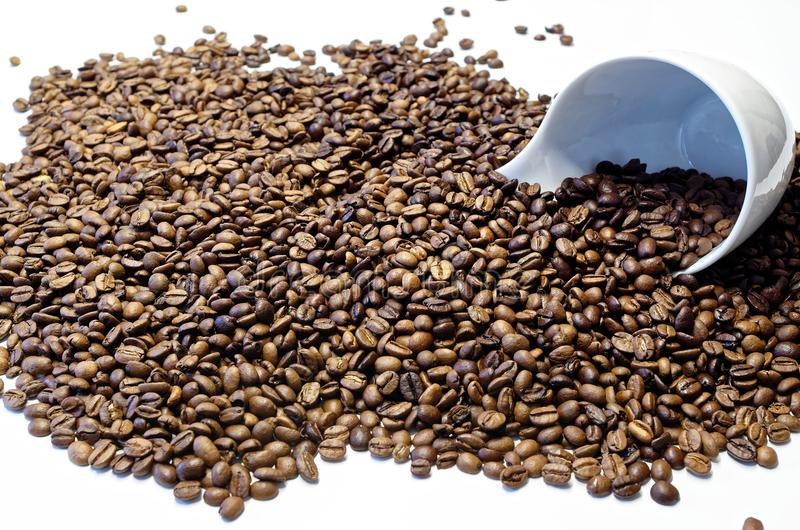 White coffee cup lying cup in the roasted coffee beans. White coffee cup lying cup on the side in the roasted coffee beans royalty free stock photo