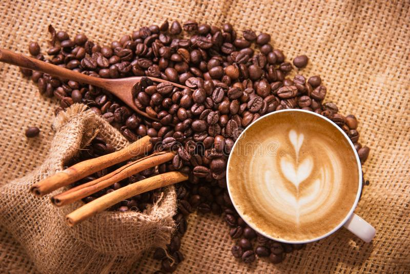 White coffee cup and roasted coffee beans around.  royalty free stock image