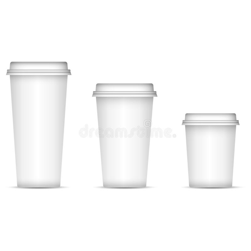 White coffee cups set isolated on background. Eps 10 Vector illustration. Disposable paper or plastic cups with lid for espresso, royalty free illustration