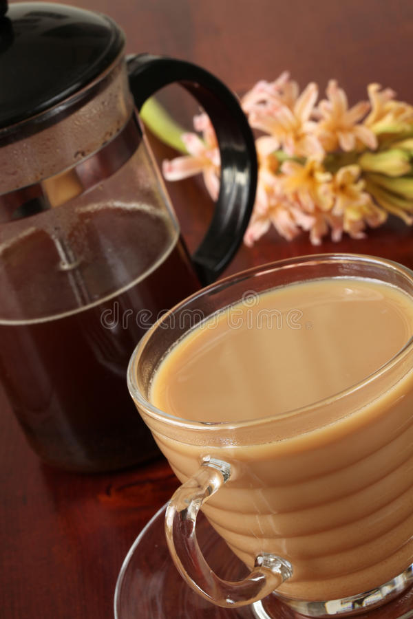 Download White Coffee And French Press Stock Image - Image of spring, saucer: 13596795