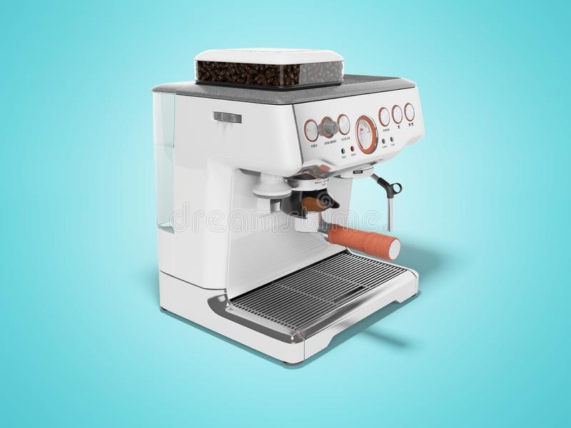 White coffee machine with capacity for coffee and water tank 3d render on blue background with shadow. White coffee machine with capacity for coffee and water royalty free illustration