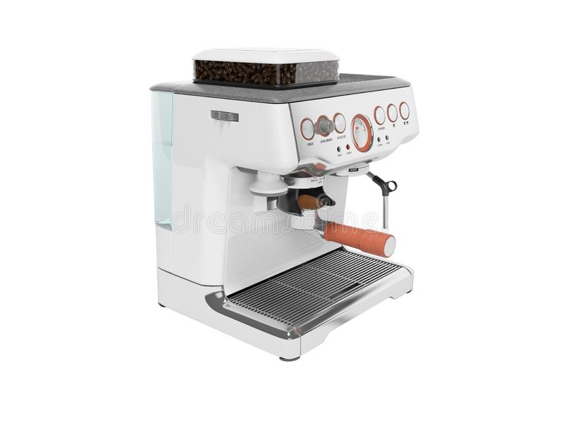 White coffee machine with capacity for coffee and water tank 3d render on white background no shadow. White coffee machine with capacity for coffee and water vector illustration