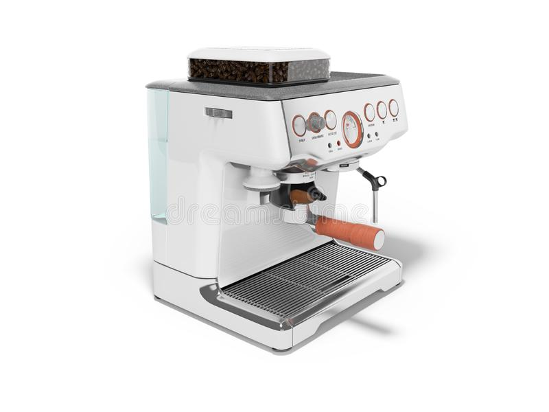 White coffee machine with capacity for coffee and water tank 3d render on white background with shadow. White coffee machine with capacity for coffee and water vector illustration