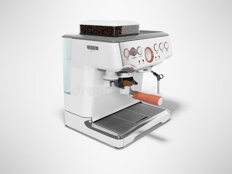 White coffee machine with capacity for coffee and water tank 3d render on gray background with shadow. White coffee machine with capacity for coffee and water stock illustration