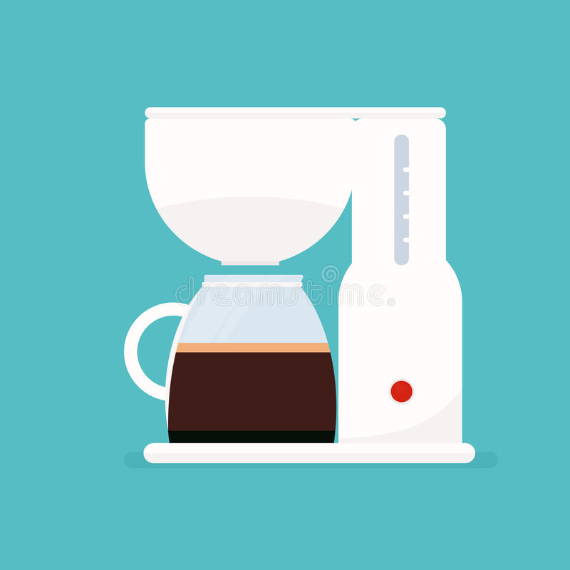 White coffee maker. Coffee maker. Vector Illustration stock illustration