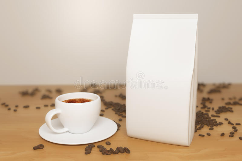 White coffee package. Close up of white coffee package, cup and beans placed on wooden desktop. Retail concept. Mock up, 3D Rendering stock illustration
