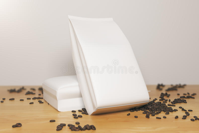 White coffee packages. Close up of white coffee package leaning on another and coffee beans placed on wooden desktop. Ad concept. Mock up, 3D Rendering stock illustration
