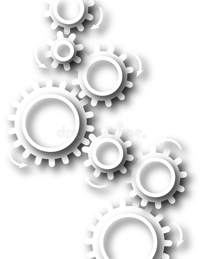 White cog wheels. Abstract design of white cutout cog wheels stock illustration