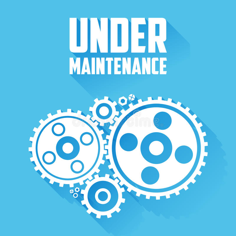 Free White Cogwheels On A Blue Background. Under Maintenance Website Page Message. Flat Style With Long Shadows. Royalty Free Stock Photography - 46881907