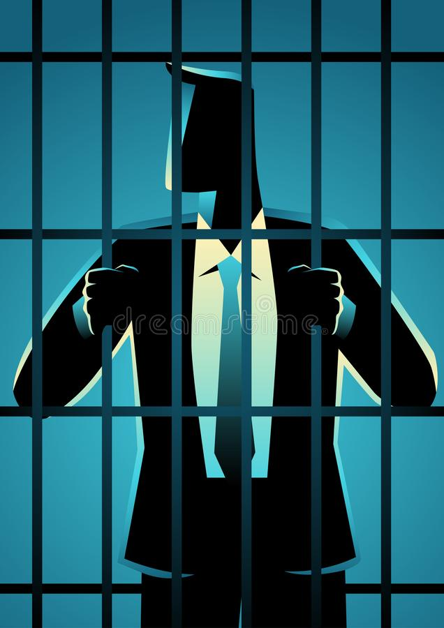 White Collar Criminal. Business concept vector illustration of a businessman in jail. White Collar Criminal royalty free illustration