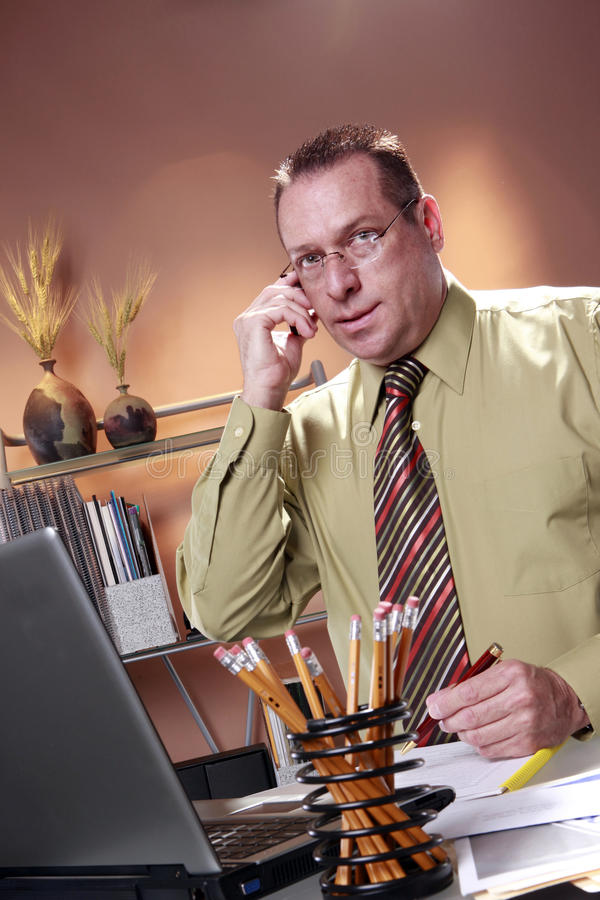 White collar workaholic stock image