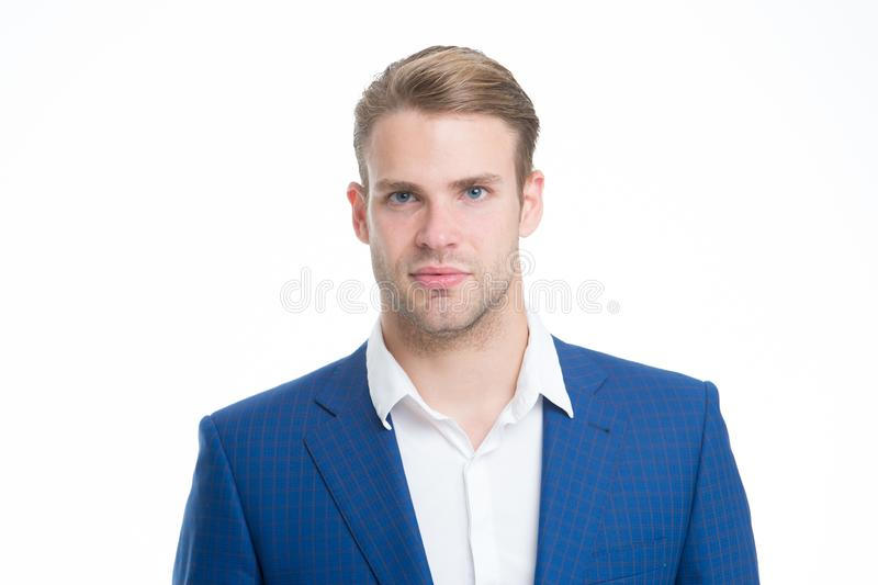 White collar worker. Macho confident ready work office. Guy office worker handsome attractive. Working dress code. Man stock photography