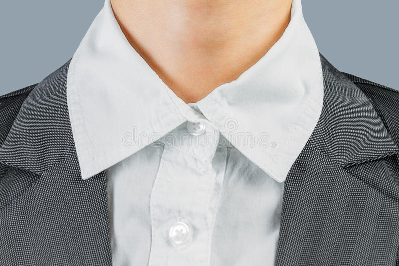 White collar worker. White collar neck of office worker, close-up, face is not visible royalty free stock photo