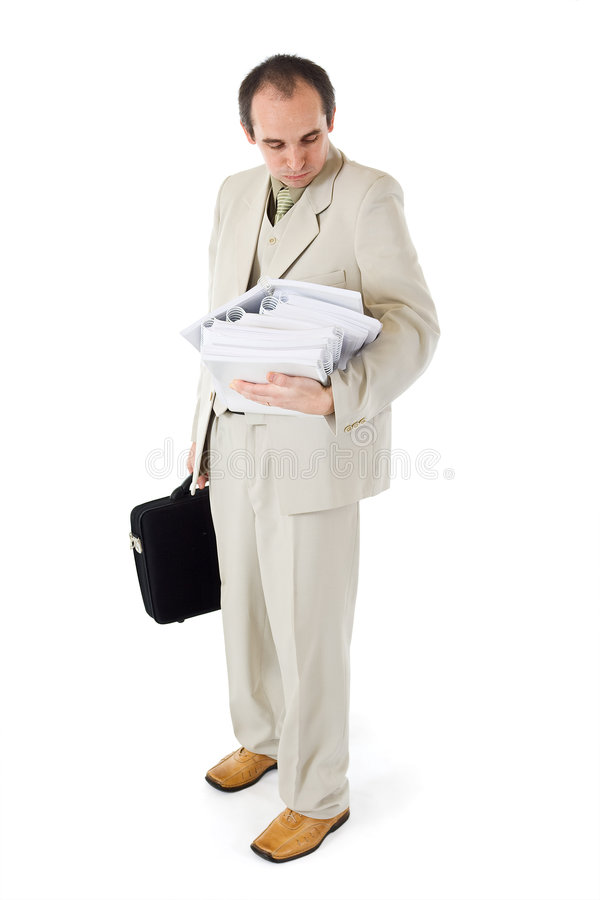 Download White Collar Worker With Too Much Work Stock Image - Image: 7271747