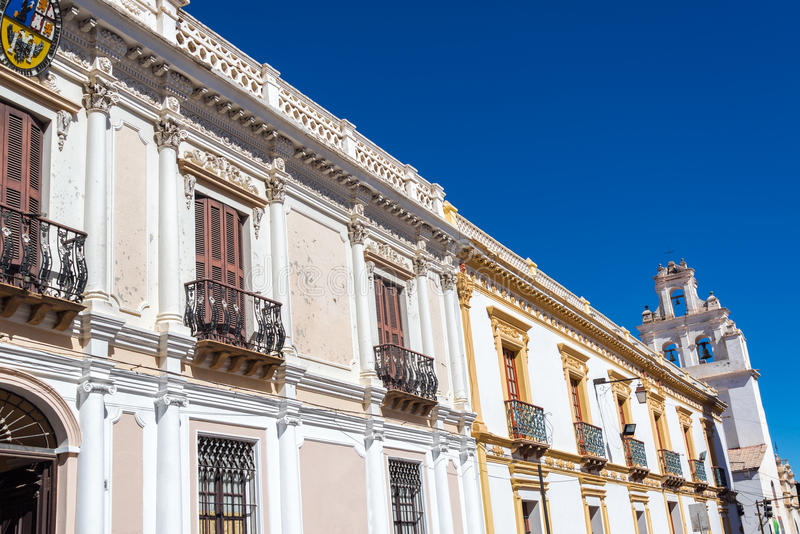 White Colonial Buildings Stock Photo