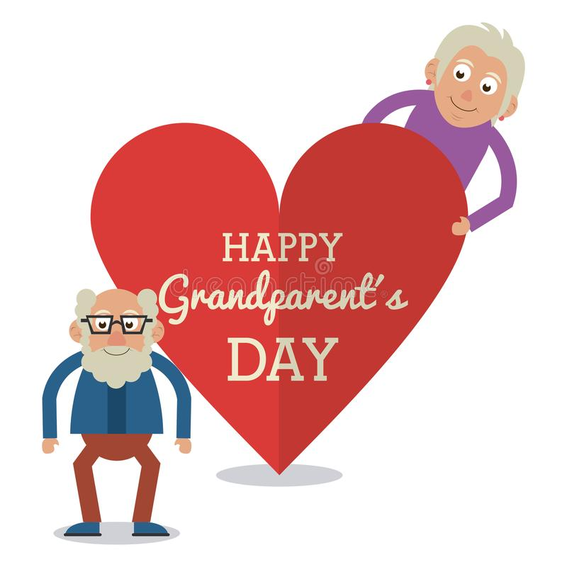 White color card and heart background with text happy grandparents day with elderly couple and him with glasses. Vector illustration royalty free illustration