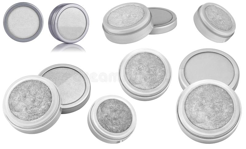 White color cosmetic eyeshadow powder with glitter particles, in round grey container, eight different instances and views of. Beauty product isolated on white royalty free stock image