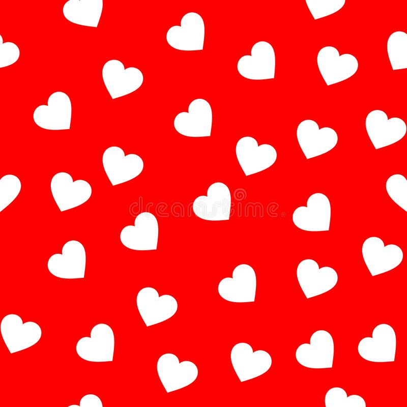 White color heart seamless pattern. White heart in the red background seamless pattern for backgrounds and paintings stock illustration